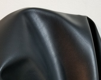 """Black """"Optima"""" Faux Vegan {Peta Approved} leather Pleather sold by the yard 36 inches x 54 inches wide Synthetic NAT Leathers™"""