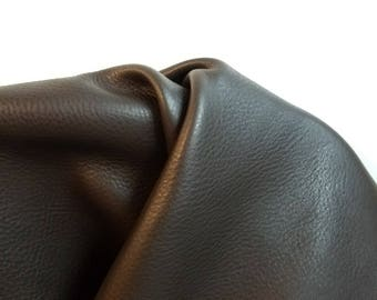 Leather 25 sq.ft full skin dark brown Smooth Nappa Cowhide soft craft supply handbag upholstery Nat Leathers 35 by 55 inches