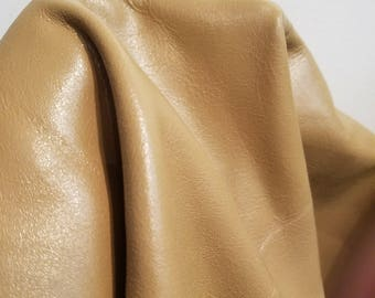 Natural Smooth 2.5-3.0 oz Cowhide leather tumbled embossed Soft cow cutting piece 15- 20 sq.ft. NAT Leathers upholstery, handbag, footwear