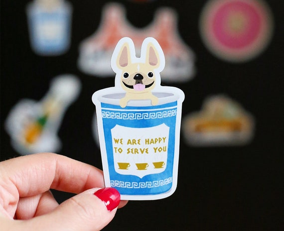 MAGNET Coffee Cup Magnet Classic NYC Coffee Cup Magnet Frenchie Magnet French Bulldog Magnet New York City Magnet Greek coffee