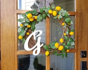 Lemon Lover Wreath with Initial