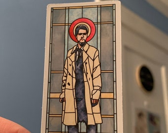 Castiel Stained Glass Window, Supernatural inspired sticker, Godstiel, SPNfamily, Misha Collins