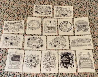 The Road So Far… Bundle of 16 5x7 Mini Prints, Postcards, Coloring Pages, Supernatural, Dean Winchester, Sam Winchester, Castiel
