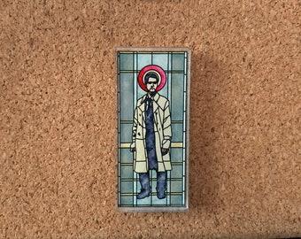 "Castiel Stained Glass Window ""Godstiel"" Acrylic Pin, Supernatural, SPNfamily, Misha Collins"