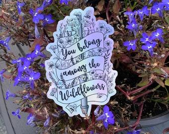 HOLOGRAPHIC Castiel Belongs Among The Wildflowers stickers, Supernatural, Tom Petty, Bees, Weatherproof, Waterproof