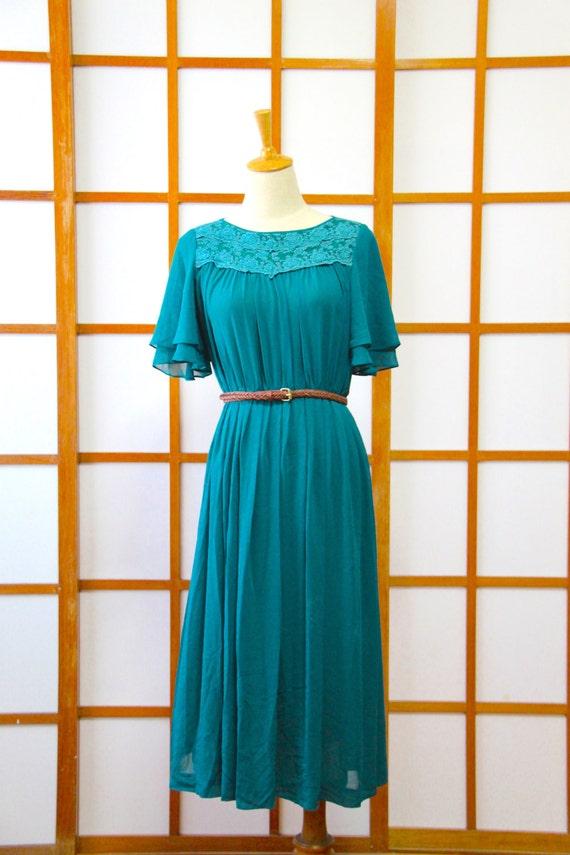 1980s M to L Vintage Grey Lace Fringe Dress Japan