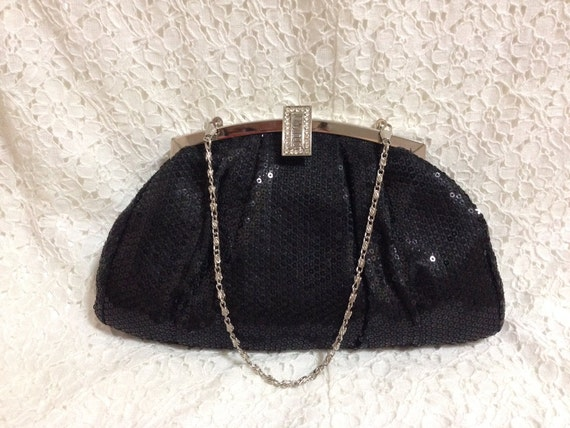 Vintage Black Sequin Evening Clutch Bag, 1980s