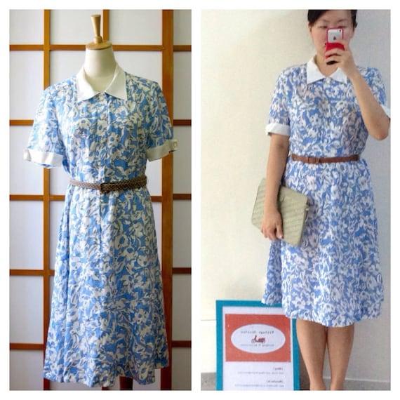 Vintage Baby Blue Floral Shirt Dress, M, Japan, 19