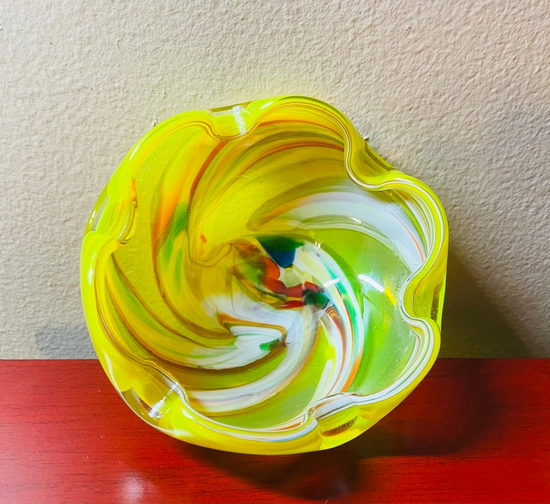 Vintage Italian Murano Art Bubble Glass Bowl  Ashtray.
