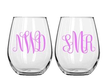 Set of 2 Stemless Decorative Wine Glasses