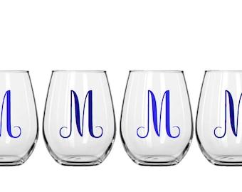 Set of 4  Stemless Decorative Wine Glasses