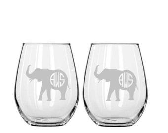Elephant Monogrammed Wine Glass Set