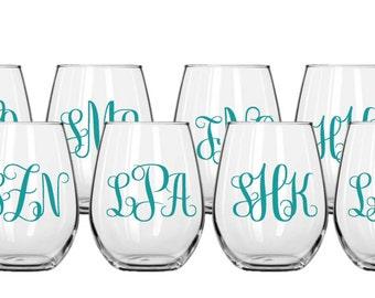 Set of 8 Stemless Decorative Wine Glasses
