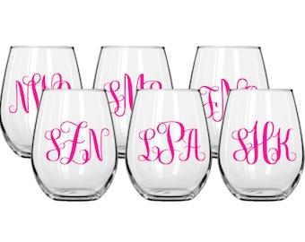 Set of 6 Stemless Decorative Wine Glasses