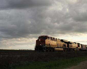 Moving BNSF Train Photograph