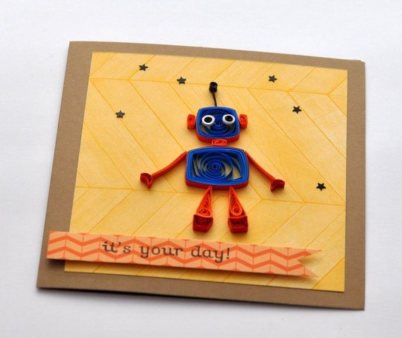 Quilled Birthday Blank Greeting Card