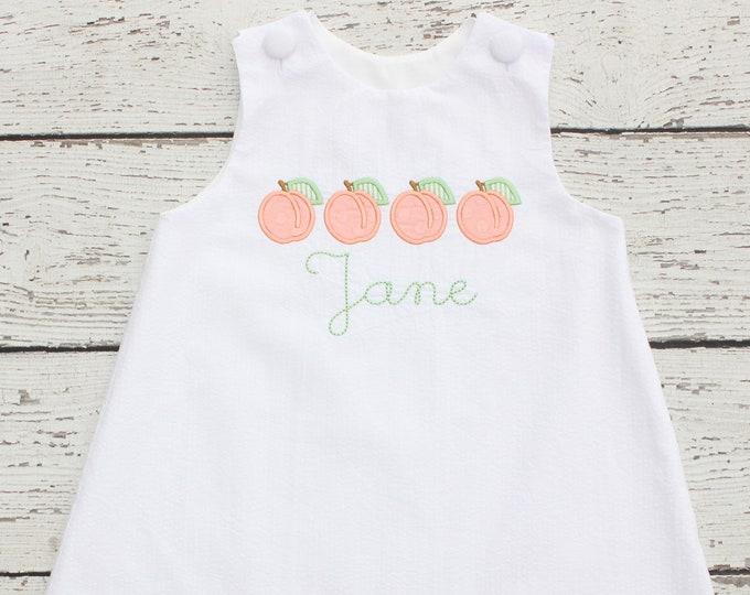 White Seersucker Birthday Outfit Peach Birthday Dress Monogrammed Seersucker Dress