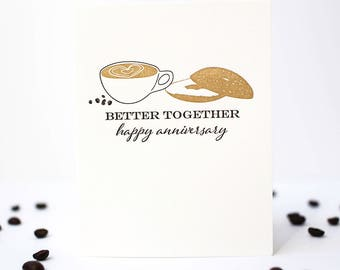 Coffee and Bagel Letterpress Anniversary Card