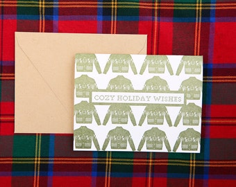 Cozy Chunky Knit Letterpress Holiday Cards