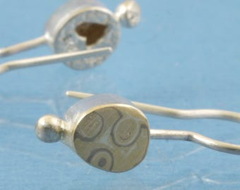 Earrings Mokumé Gane 585 Gold 500 Palladium and 925 Silver a unique ear jewelry