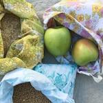 Set of 3 reusable drawstring produce bag / plastic free / zero waste/ repurposed bag / waste free / sustainable/