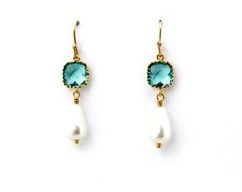 Blue Zircon and Pearl Drop Earrings, Dangle Earrings, Wedding Jewelry, Bridesmaid Jewelry, Mother's Day