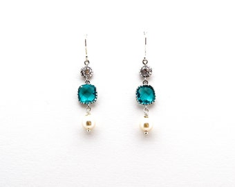Blue Zircon Crystal with CZ and Pearl Drop Earrings, Dangle Earrings, Wedding Jewelry, Bridesmaid Jewelry, Mother's Day