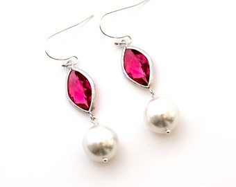 Fuchsia Crystal with Swarovski Pearl Drop Earrings, Dangle Earrings, Wedding Jewelry, Bridesmaid Jewelry