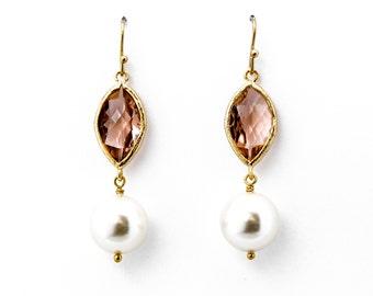 Peach Champagne Crystal with Swarovski Pearl Drop Earrings, Dangle Earrings, Wedding Jewelry, Bridesmaid Jewelry