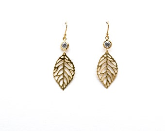 Gold Leaf with CZ Earrings, Drop Earrings, Dangle Earrings, Wedding Jewelry, Bridesmaid Jewelry, Graduation Gift