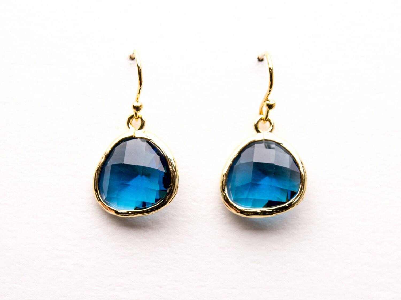 Sapphire Blue Earrings in Gold Drop Earrings Dangle | Etsy