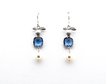 Silver Orchid Earrings with Montana Blue Crystal and Pearl, Drop Earrings, Dangle,Wedding Jewelry, , , Christmas Gift