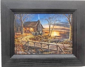 Cabin and Old Truck, Simpler Times, Jim Hansel, Art Print, Country Decor, Wall Hanging, 9X7, Real Wood Frame, Handmade, Made in USA