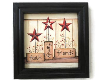 Primitive Decor, Faith Family Friends, Stars, Berries, Primitive, Art  Print, Wall Hanging, Handmade, 8 X 8, Custom Wood Frame, Made In USA