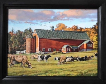 Autumn Splendor, Cows And Barn, Bonnie Mohr, Art Print, Country, Farmhouse,  Wall Hanging, Handmade, 19X15, Custom Wood Frame, Made In USA