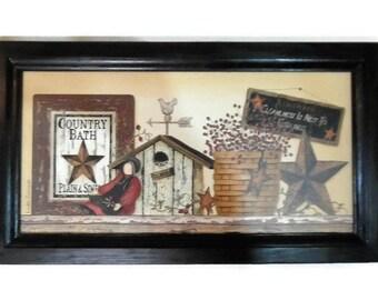 Country Bath, Primitive Bathroom Decor, Country Home Decor, Art Print, Wall  Hanging, Handmade, 21X12 Custom Wood Frame, Made In The USA