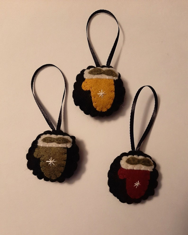Yellow with Snowflake Hand Made in the USA 2 inch Mitten Ornaments Hand Sewn Wool Ornament Christmas Decoration Set of 3 Red Green