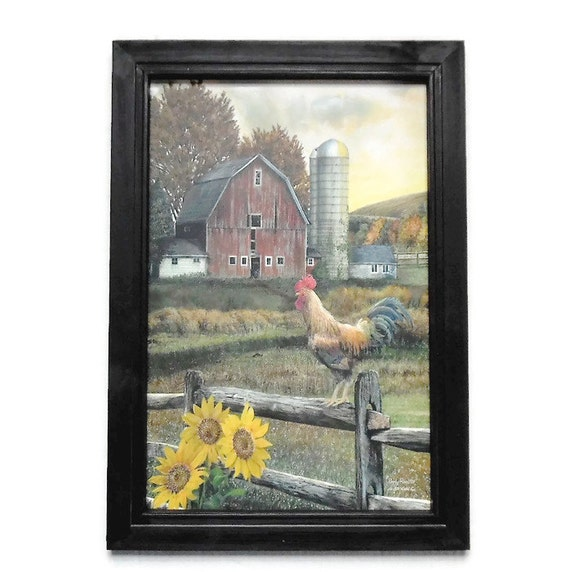 Early Rooster Barn And Sunflowers Picture Art Print Country Etsy