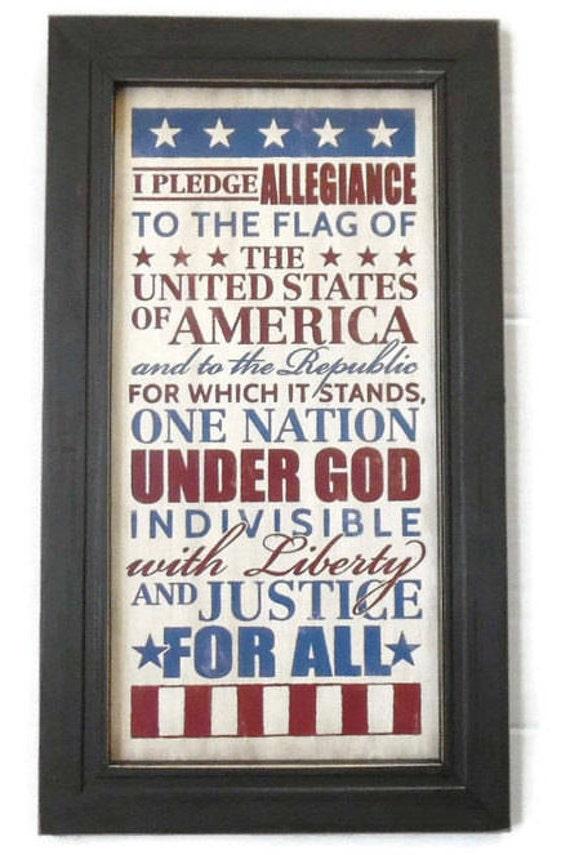 The Pledge of Allegiance American Wall Decor Home Decor | Etsy