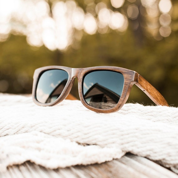 Items similar to Handmade Bamboo Wayfarer Sunglasses (Dark Grain) on Etsy