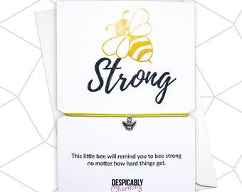 Bee strong bracelet, Bee friendship bracelet, Bee Jewellery, Bee charm, Strong bracelet, Save the bees, Honey Bee, Personalised bracelet