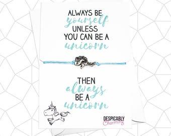 Always be a Unicorn Friendship Bracelet - Unicorn jewellery - wish bracelet - Valentines gift - valentines card
