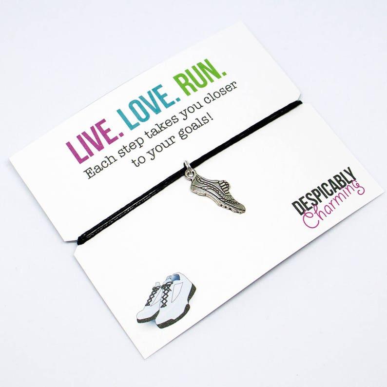 Running Motivation 10k Runner gifts Fitness Gift fitspiration Fitness jewelry Running jewelry Cord Bracelet 5k Marathon Gift