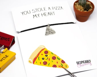 Pizza, carte drôle alimentaire - bracelet d'amitié, carte de meilleur ami, Pizza mon coeur, carte de pizza, bracelet Pizza, cadeaux gourmands, cadeau de nourriture