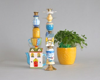 Whimsical House Candlestick Pair
