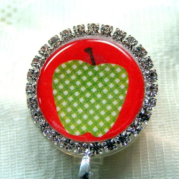 porte-badge de rouge et vert pomme id, bobine insigne strass, pince id perlé, badge d'identité bling, badge id professeur/docteur/infirmière
