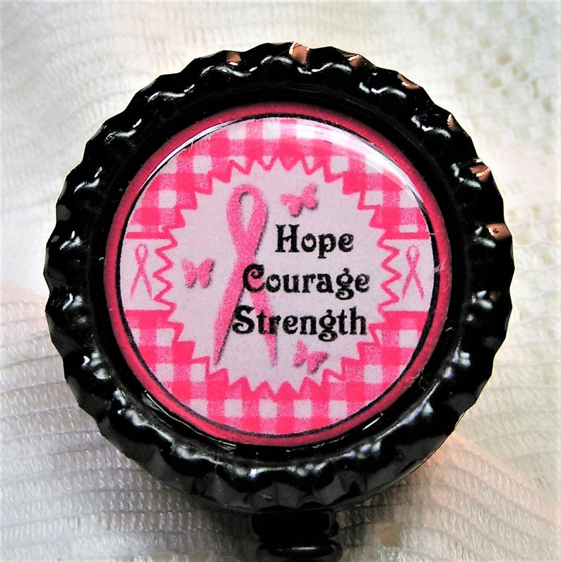 Cancer Awareness Bottle Cap Retractable Badge ID Holder