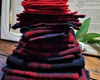 Vintage Pendleton Wool Pieces and Scraps Red Black Gray Destash Recycled