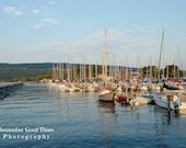 Peaceful Harbor, RGTPhotos, Wall Art Photography, Sky line of Watkins Glen NY, Boats in harbor marina Pier, Greeting Card,