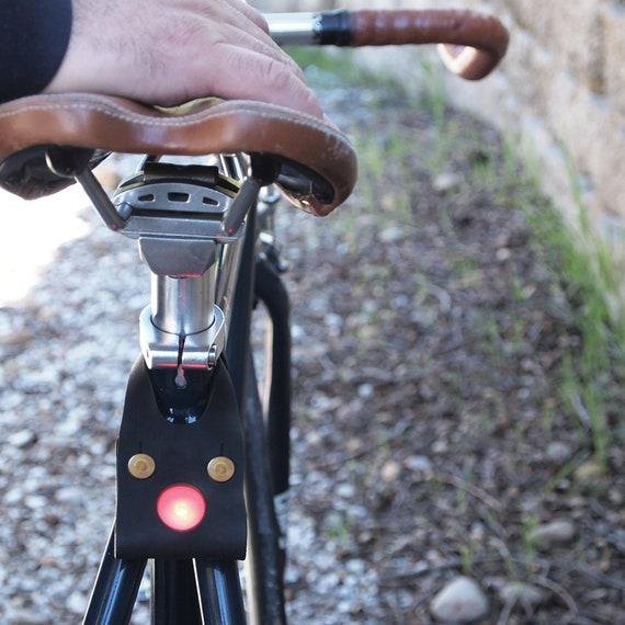 Bike LED light Black leather cycling light bike light bike accessories cycling accessories cycling light for cycling gift for bike lover